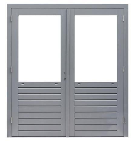 Hardhout kozijn dubbele deur met glas